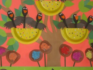 paper plate and spoon bird craft
