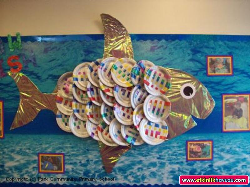 Crafts actvities and worksheets for preschool toddler and for Fish bulletin board