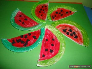 paper plate watermelon craft