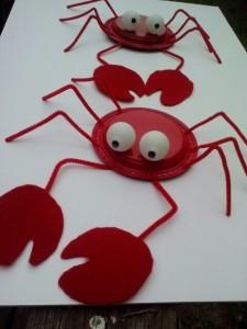 plastic plates and ping pong balls crab