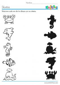 sea animal shadow worksheet