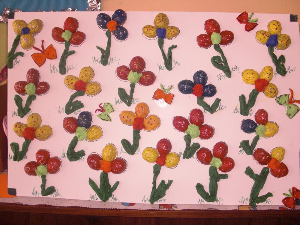 walnut shell flower craft