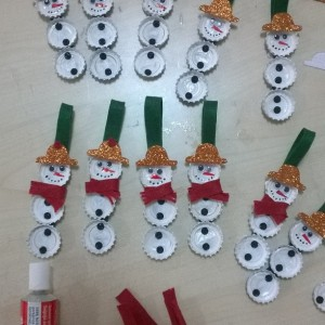 bottle cap snowman craft