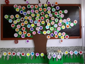 spring tree bulletin board