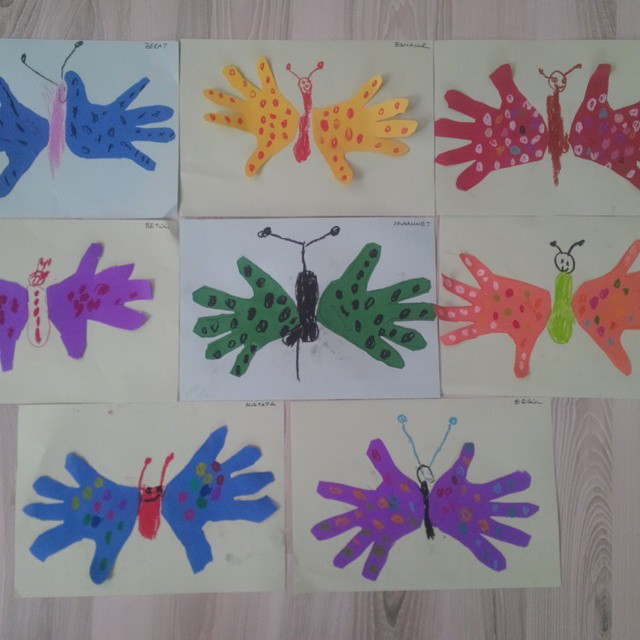 Crafts actvities and worksheets for preschool toddler and for Butterfly hands craft