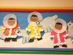 Eskimos and polar bears kindergarten or preschool craft
