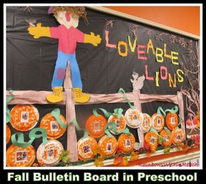 Fall Preschool Bulletin Board in Preschool