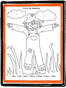 Halloween Color-by-Number Scarecrow Coloring Worksheet For Kids