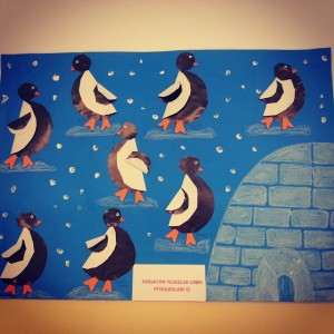 Penguin Bulletin Board X on musical instruments craft idea for kids