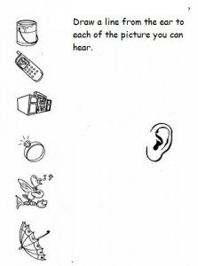 math worksheet : free five senses worksheet for kindergarten  five sense matching  : Five Senses Worksheets Kindergarten