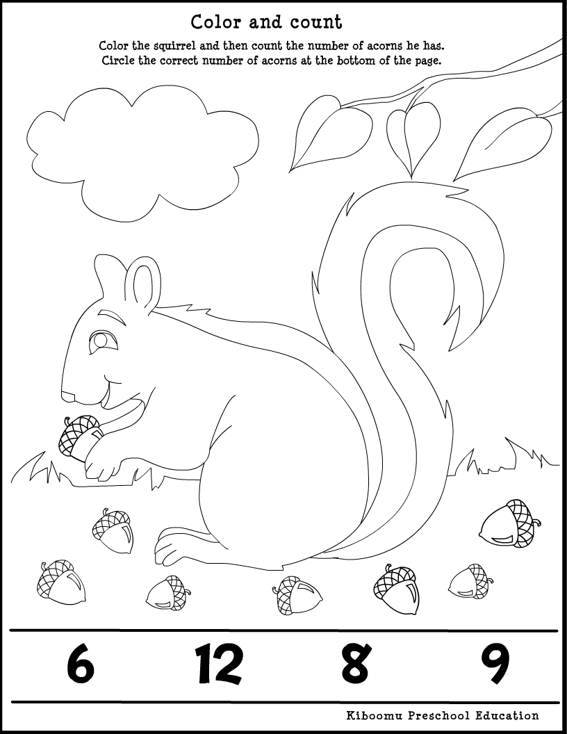 Worksheets Fall Math Worksheets fall worksheet for kids crafts and worksheets preschool math squirrel ff6384ca9e3eeece288de24d00243f08