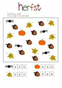 autumn counting worksheet