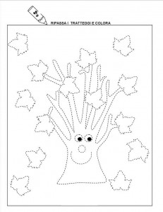 autumn tree trace line worksheet