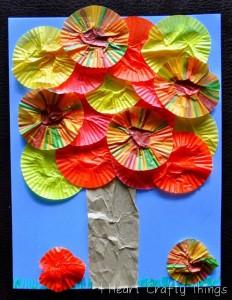 cupcake liner tree craft