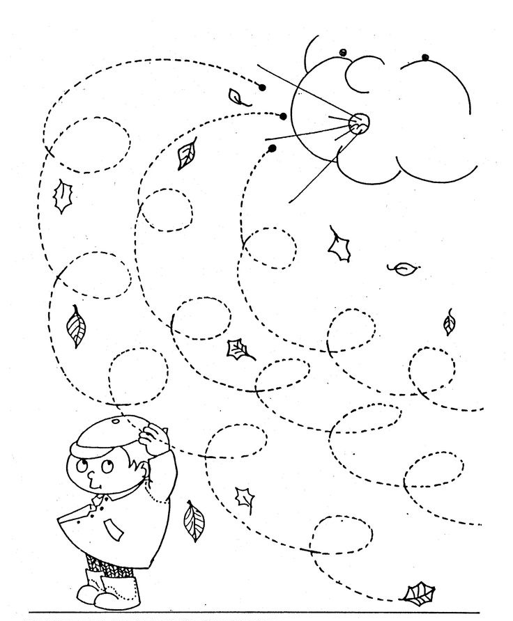 Line Art For Kindergarten : Fall trace line worksheet for kids crafts and worksheets
