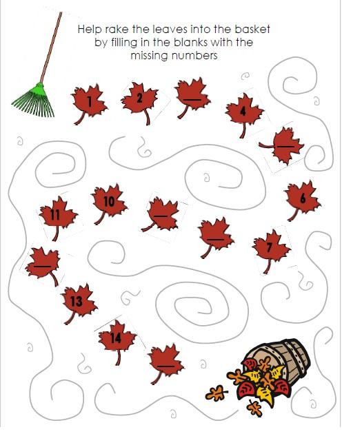 fall worksheet for kids