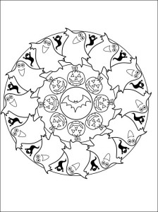 halloween mandala coloring page for kids