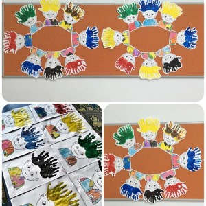 handprint boy hair craft