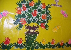 handprint spring bulletin board