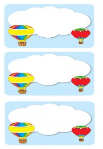 hot air balloon name label