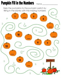 pumpkin worksheet for kids