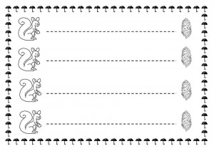 squirrel trace line worksheet for kids