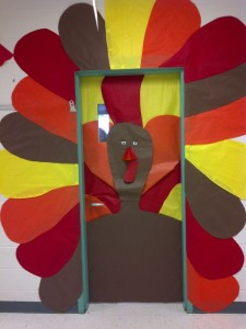 Fall turkey thanksgiving classroom door decoration for students