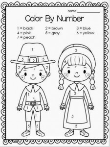 Free Thanksgiving pilgrims color by number