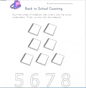 back to school counting worksheet