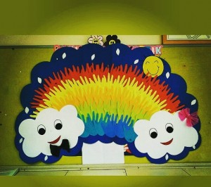 handprint rainbow bulletin board
