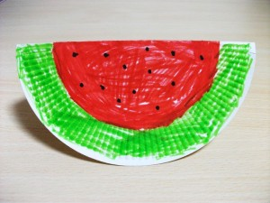 paper plate watermelon craft idea