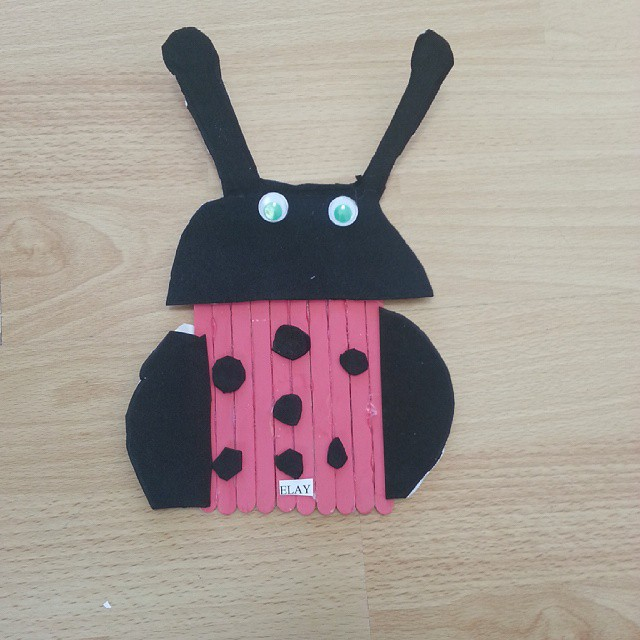 popsicle stick lady bug