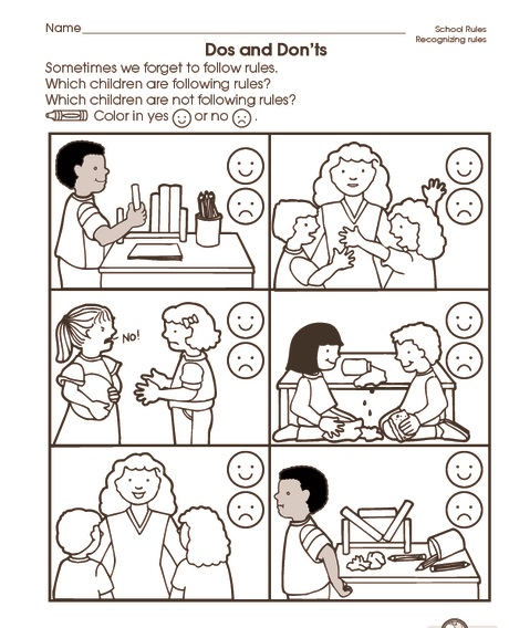 School Rules Worksheet (2) Crafts And Worksheets For Preschool,Toddler  And Kindergarten