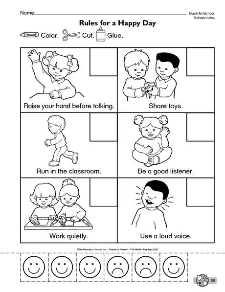 School Rules Worksheet 3 on Book Worksheet For Kindergarten Print Concepts