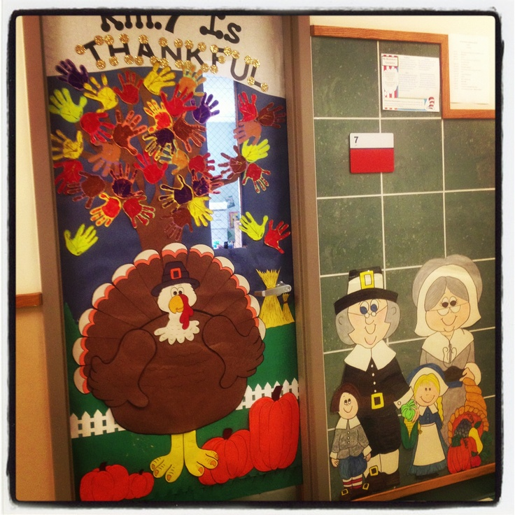 Thanksgiving Classroom Door Decor ~ Thanksgiving day door decoration idea crafts and