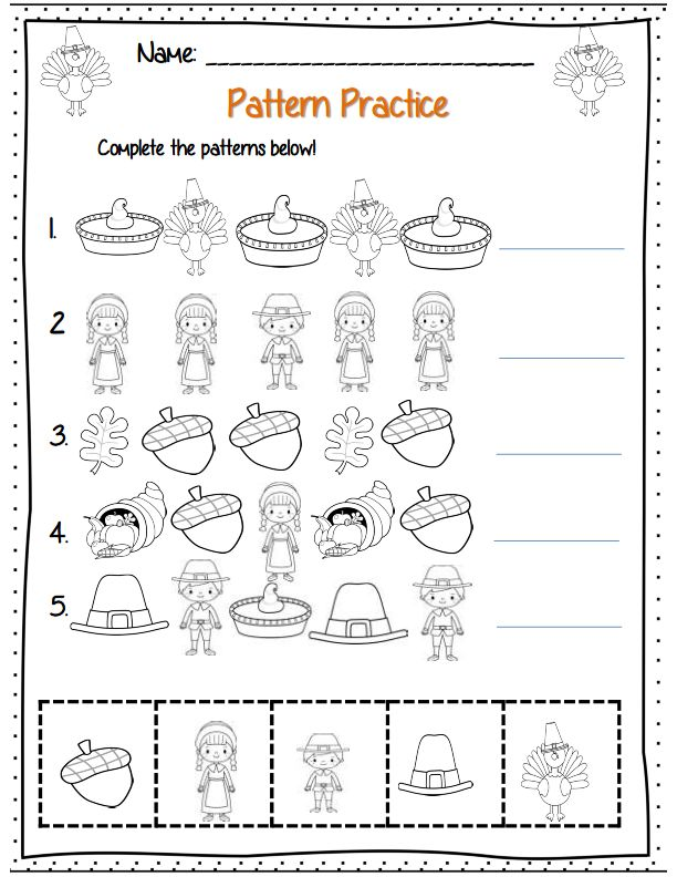 Thanksgiving Day Pattern Worksheet (1) Crafts And Worksheets For Preschool,Toddler  And Kindergarten