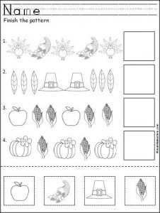 thanksgiving pattern worksheet for Kindergartens