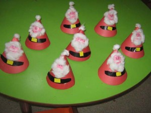 cone shaped santa claus craft