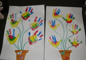 handprint flower bulletin board