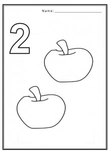 Free Coloring Pages Of Number 2 With Fruit