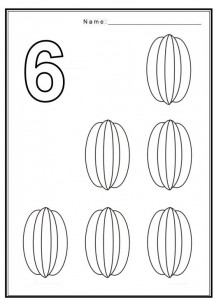 Free coloring pages of number 6 with fruit