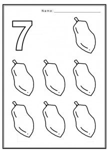 Free coloring pages of number 7 with fruit