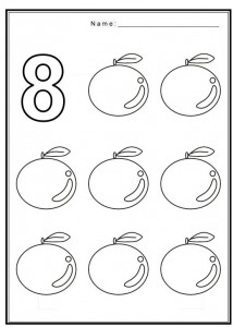 Free coloring pages of number 8 with fruit