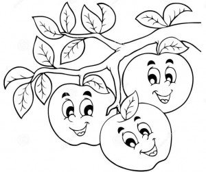cartoon apple coloring page 1 httpwwwdreamstimecomroyalty free stock - Cartoon Coloring Pages 2