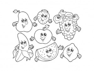 cartoon fruits coloring page(1)