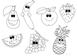 cartoon fruits coloring page(2)