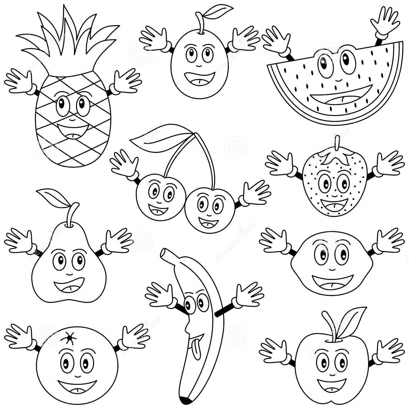 Cartoon Apple Coloring Pages : Fruits vegetables crafts and worksheets for preschool