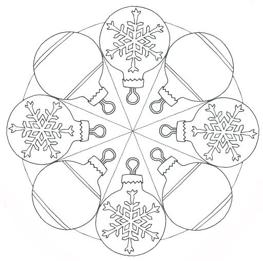 christmas mandala coloring page for kids 1