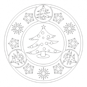 christmas tree mandala coloring page