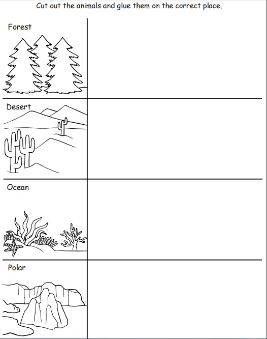 Printables Habitat Worksheets animal habitat worksheets for kindergarten davezan habitats kids bloggakuten